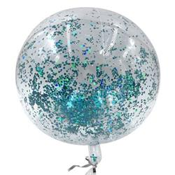 Bobo Balloon Balls Crystal Clear  pre-filled with 5gr small Light Blue confetti.  40 cm Hang Sell Packaging