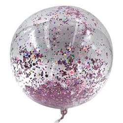 Bobo Balloon Balls Crystal Clear  pre-filled with 5gr small Pink confetti. 40cm Hang Sell Packaging
