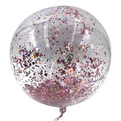 B0bo Balloon Balls Crystal Clear  pre-filled with 5gr small Rose Gold confetti. 40cm Hang Sell Packaging