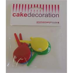 Cake Picks Balloon 3.8cm Asst.