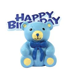 Resin Teddy Bear Topper and Happy Birthday Motto
