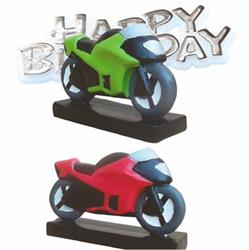Resin Motorbike Topper and Happy Birthday Motto