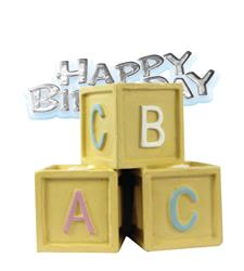 Resin Baby Blocks Topper and Happy Birthday Motto