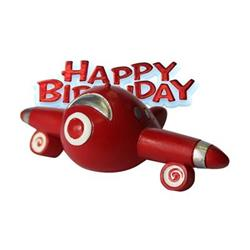 Resin Aeroplane Topper and Red Happy Birthday Motto