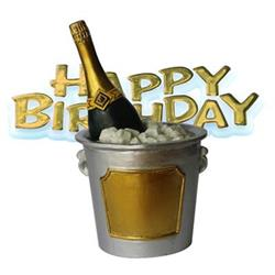 Resin Champers Ice Bucket Topper and Happy Birthday Motto