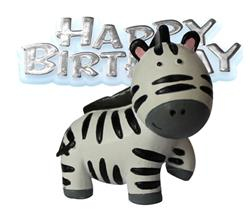 Resin Zebra Topper and Happy Birthday Motto