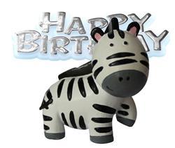 Resin Zebra Topper and Happy Birthday Motto