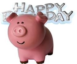 Resin Pig Topper and Happy Birthday Motto