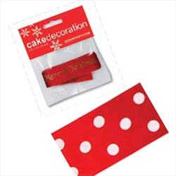 Cake Ribbon Polka Dot Red 1 mtr length