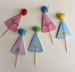 Cake Topper Hat Assorted colours wtih Glitter Pom Poms