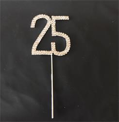 Cake Topper Silver Rhinestone Crystal 4.5cm Metal Number 25