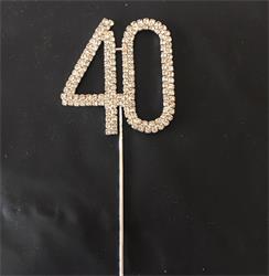 Cake Topper Silver Rhinestone Crystal 4.5cm Metal Number 40