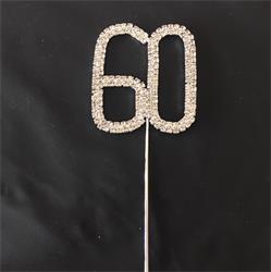 Cake Topper Silver Rhinestone Crystal 4.5cm Metal Number 60