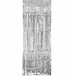 Door Curtain Metallic Silver 100cm x 200cm