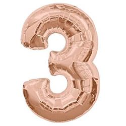 Number 3 Rose Gold 82cm Air fill only