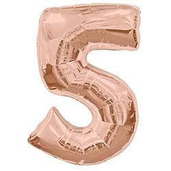 Number 5 Rose Gold 82cm Air fill only