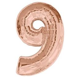 Number 9 Rose Gold 82cm Air fill only