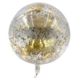 Bobo Balloon Balls Crystal Clear  pre-filled 5gr small Gold confetti inside 45cm packaged