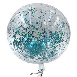 Bobo Balloon Balls Crystal Clear pre-filled 5g of small Blue confetti inside 45cm packaged