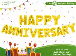 """Happy Anniversary Kit Set Gold 13 x 16"""" 40cm Letters Ribbon/straw Included"""