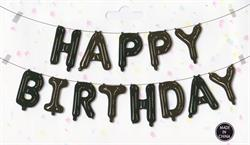 "Happy Birthday Kit Set Black 13 x 16"" 40cm Letters ribbon /straw included"