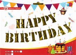 "Happy Birthday Kit Set Gold 13 x 16"" 40cm Letters ribbon included"