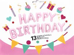 "Happy Birthday Kit Set Light Pink 13 x 16"" 40cm Letters ribbon/straw included"