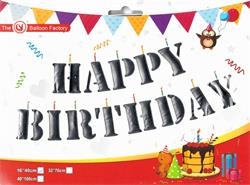 "Happy Birthday Kit Set Silver 13 x 16"" 40cm Letters Ribbon Included"
