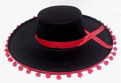 Hat Black Sombrero with Red Tassel