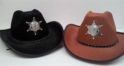 Hat Cowboy with Sheriffs Badge Black