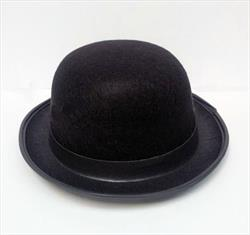 Hat Bowler Black with Black Ribbon small oval