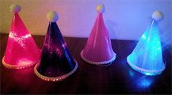 Hat Led Light Up Glitter with Pom Pom Trim