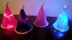 Hat Led Light Up Glitter with Pom Pom Trim