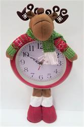Fabric Reindeer Figures With Clock Face