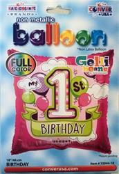 1st Birthday Girl Balloons Gellibeans full colour 45cm