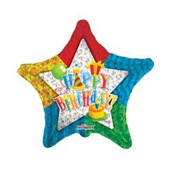 Patterned Star Happy Birthday 10cm
