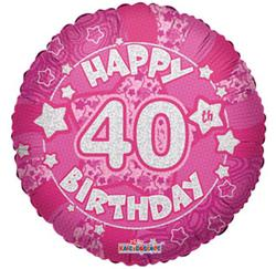 Holographic Pink Happy 40 Birthday 45cm