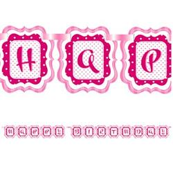 Ribbon Banner Perfectly Pink Happy Birthday 2.9 mtrs