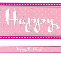 Foil Banner Perfectly Pink Happy Birthday 2.74 mtrs