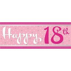 Foil Banner Perfectly Pink 18th Birthday 2.74 mtrs