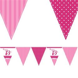 Paper Flag Bunting Perfectly Pink 13th Birthday