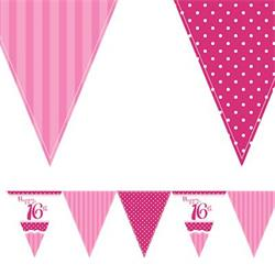 Paper Flag Bunting Perfectly Pink16th Birthday