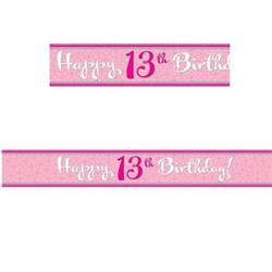 Foil Banner Perfectly Pink 13th Birthday  2.74 mtrs