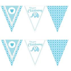 Paper Flag Bunting Sweet Baby Elephant Blue Christening