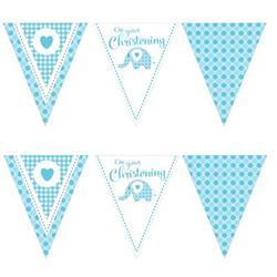 Paper Flag Bunting Sweet Baby Elephant Blue Christening
