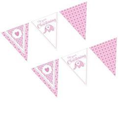 Sweet Baby Elephant Pink Christening Flag Bunting