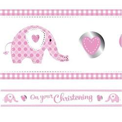 Sweet Baby Elephant Pink Christening Foil Banner  2.74 mtrs