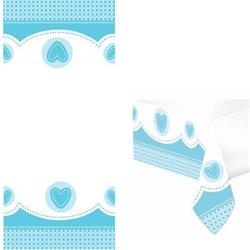 Sweet Baby Elephant Blue Christening Tablecover