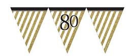 Paper Flag Bunting Black & Gold 80