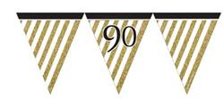 Paper Flag Bunting Black & Gold 90